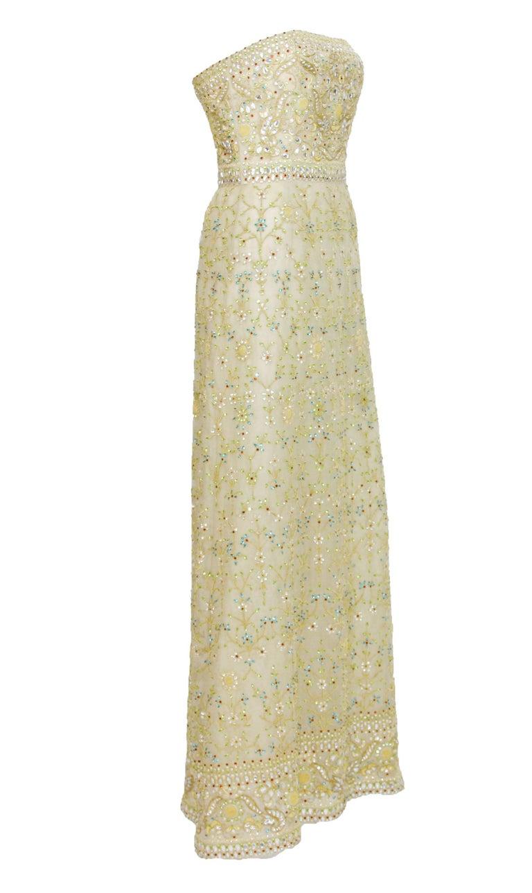 Oscar de la Renta S/S 2003 Fully Beaded Dazzling Champagne Gown US 4 5