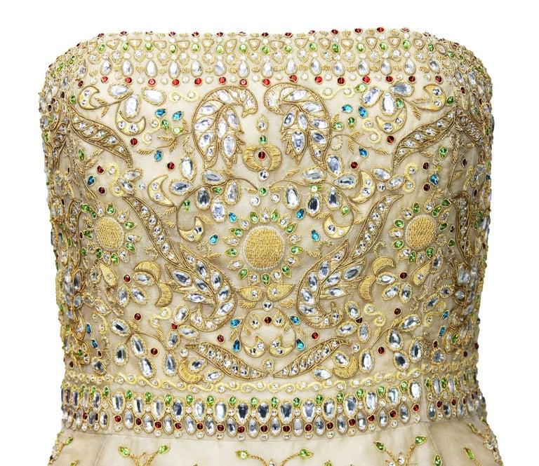 Oscar de la Renta S/S 2003 Fully Beaded Dazzling Champagne Gown US 4 6