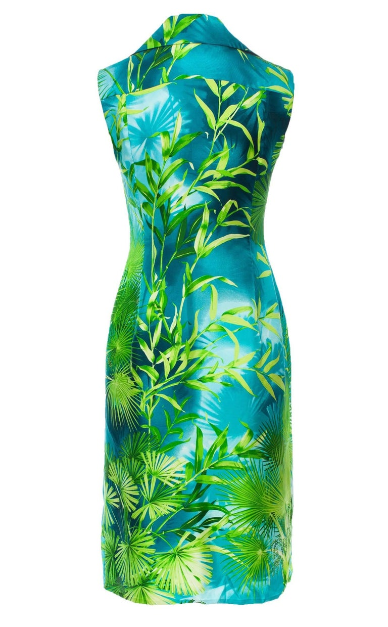 Iconic Gianni Versace Couture S/S 2000 Jungle Print Silk Embellished Dress It.38 2