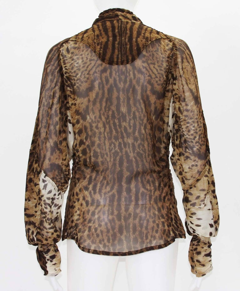 d4eda6be982a Women's Tom Ford for Yves Saint Laurent S/S 2002 Safari Collection Leopard  Silk Top