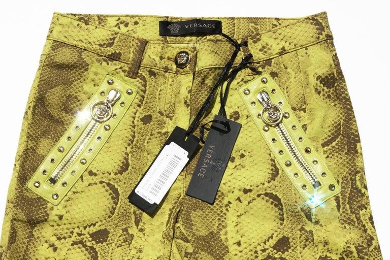 New Versace Snake Print Swarovski Crystals Leather Details Medusa Skinny Jeans  3