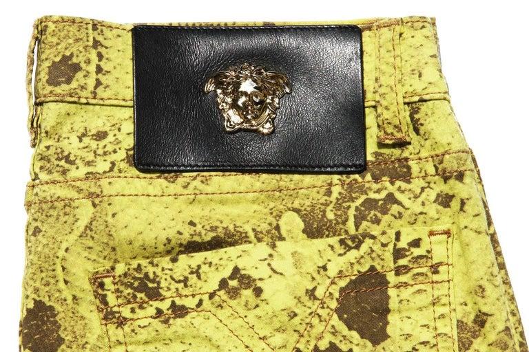 New Versace Snake Print Swarovski Crystals Leather Details Medusa Skinny Jeans  5