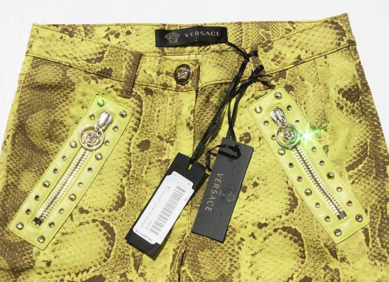 New Versace Snake Print Swarovski Crystals Leather Details Medusa Skinny Jeans  6