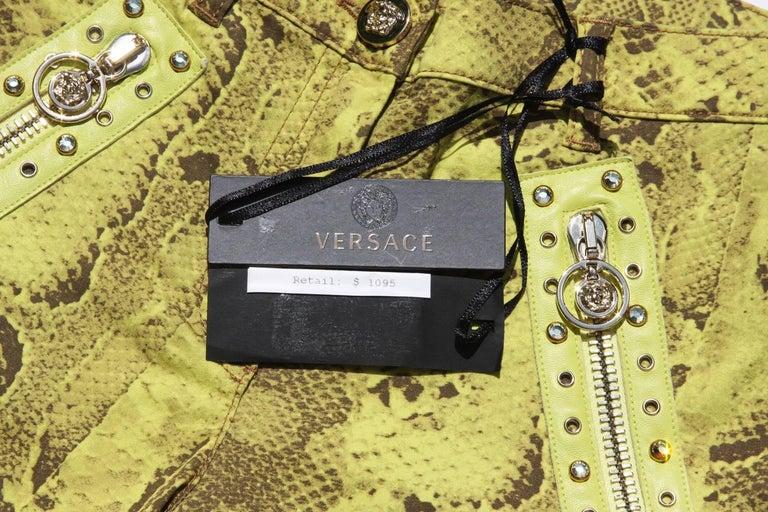 New Versace Snake Print Swarovski Crystals Leather Details Medusa Skinny Jeans  7