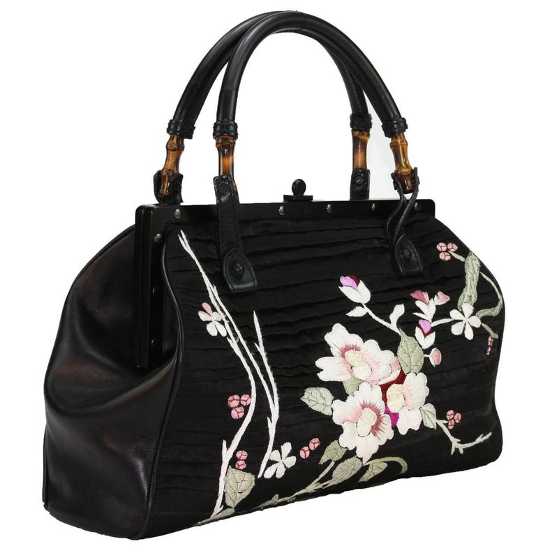 TOM FORD for GUCCI BLACK SILK FRAME JAPANESE FLOWERS BAG For Sale