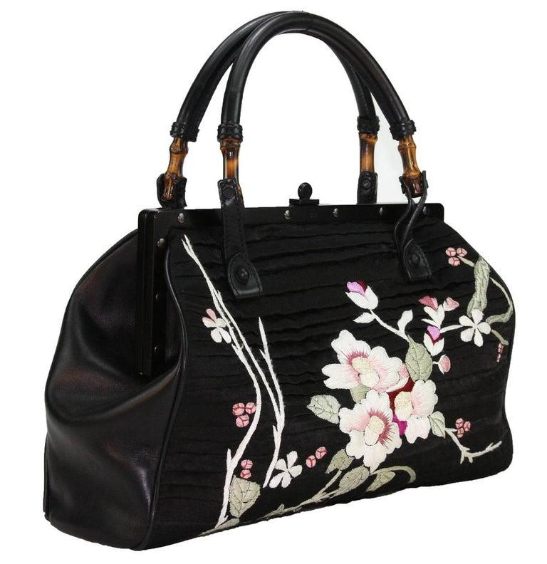 TOM FORD for GUCCI BLACK SILK FRAME JAPANESE FLOWERS BAG 1