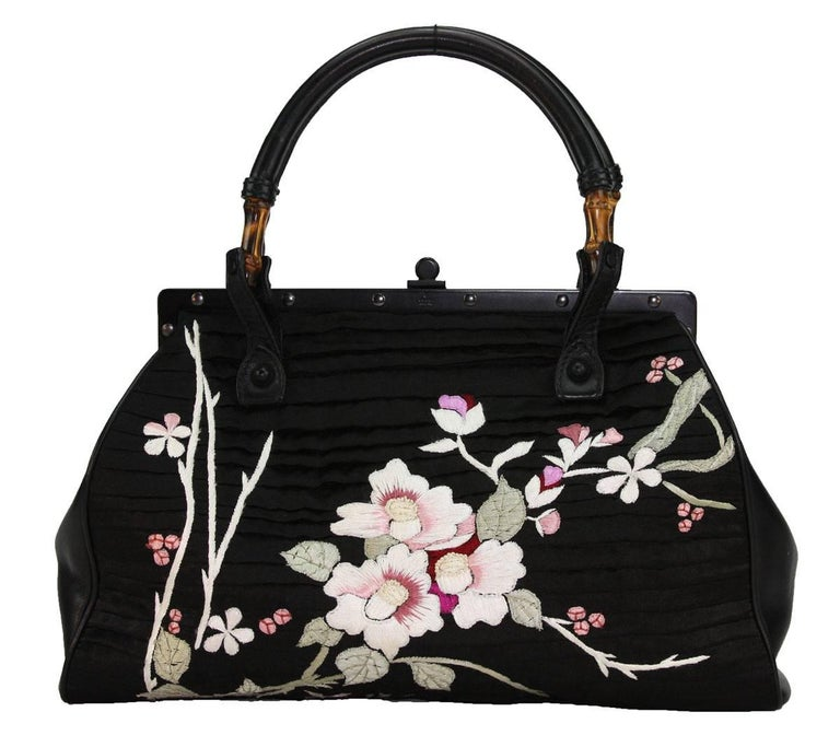 TOM FORD for GUCCI BLACK SILK FRAME JAPANESE FLOWERS BAG S/S 2003 COLLECTION  RARE and COLLECTIBLE COLOR – BLACK SILK, LEATHER, BAMBOO FLORAL JAPANISE EMBROIDERY IN WHITE, PINK, RED, GREEN ON BOTH SIDES LEATHER SIDE PANES FRAME-SHAPED
