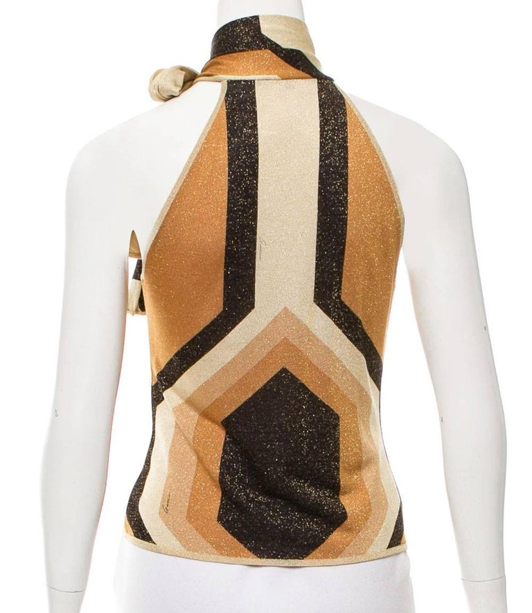 Tom Ford for Gucci Metallic Kaleidoscope Top F/W 2000 Collection Scarf Tie Halter Style Measurements: Length - 19 inches, Bust - 32. Made in Italy Excellent Condition.