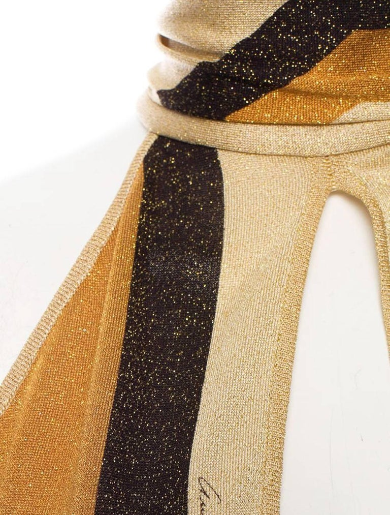 Brown Tom Ford for Gucci F/W 2000 Metallic Kaleidoscope Scarf Tie Halter Top XS For Sale