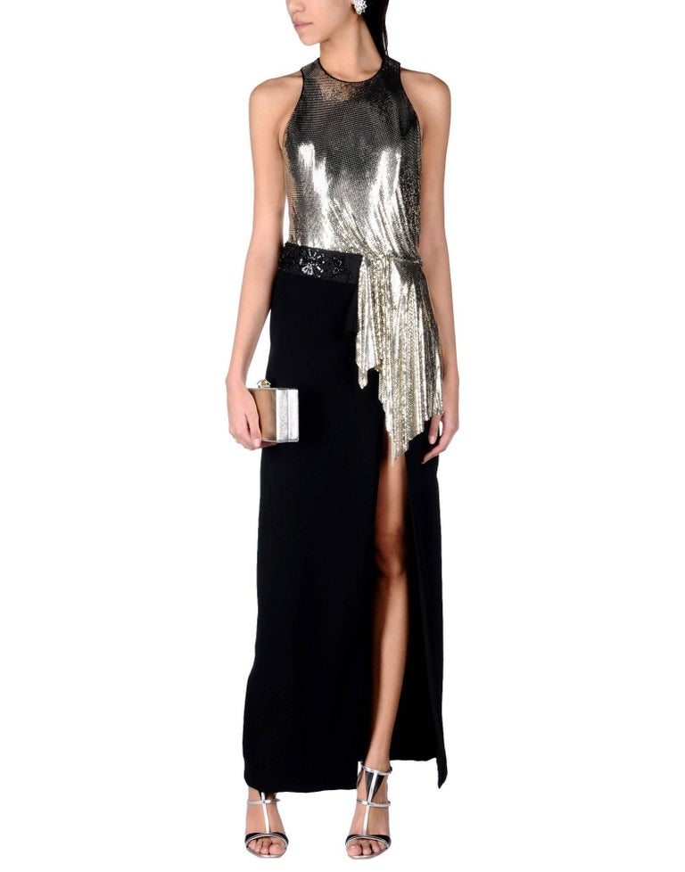 New Versace Silver Metallic Mesh Cut Out Black High Slit Gown It sizes 42 For Sale 1