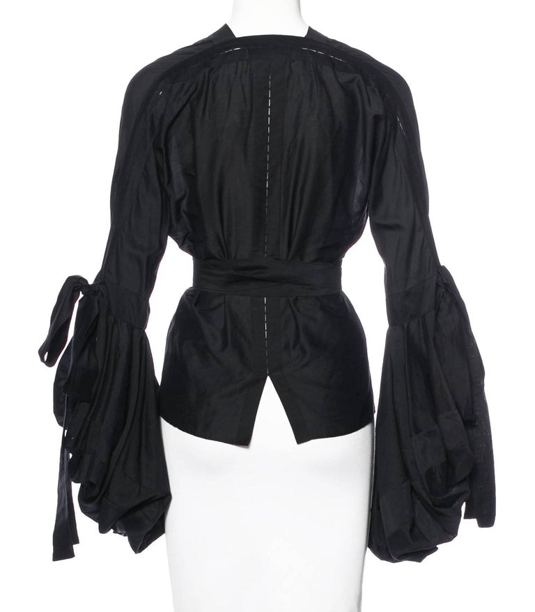 72b23a054f7e Black Tom Ford for Yves Saint Laurent F/W 2002 Lace Up Peasant Top Blouse