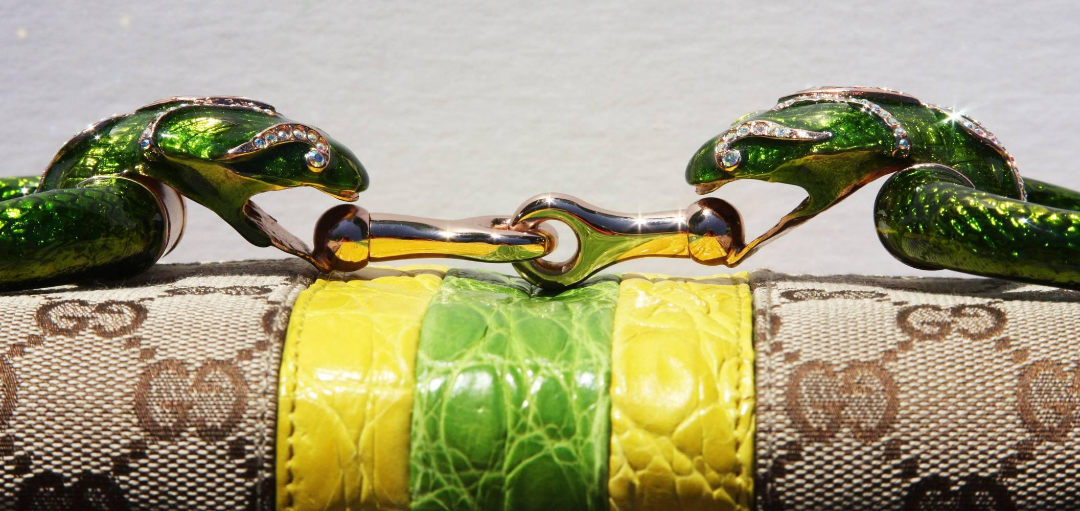 Tom Ford New Tom Ford For Gucci 2004 Crocodile-trimmed Horsebit Jeweled Serpent Clutch OzK3Xk7o