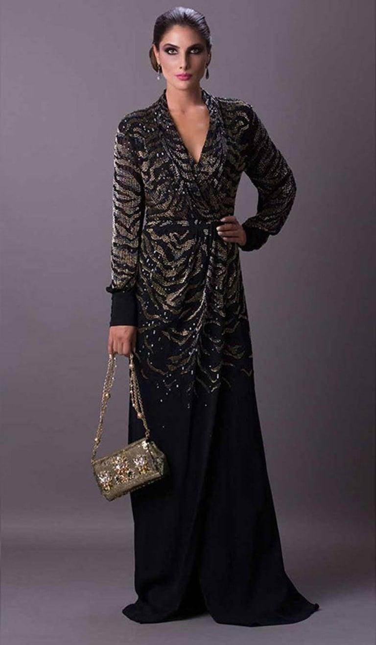 Black New $6950 Roberto Cavalli Tiger Silk Beaded Embellished Kimono Dress Gown It. 38 For Sale