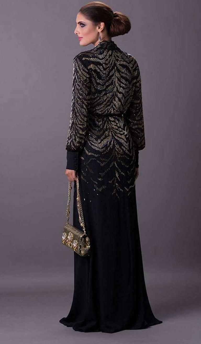 Women's New $6950 Roberto Cavalli Tiger Silk Beaded Embellished Kimono Dress Gown It. 38 For Sale