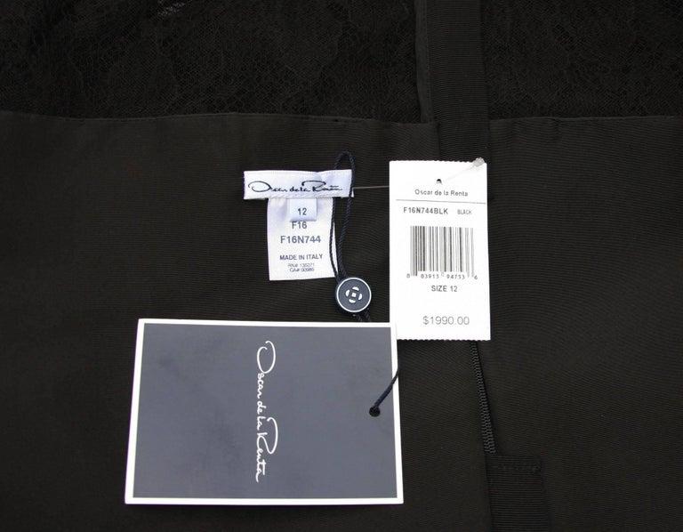 New $1990 Oscar de la Renta Black Lace Peplum Top 12 For Sale 1