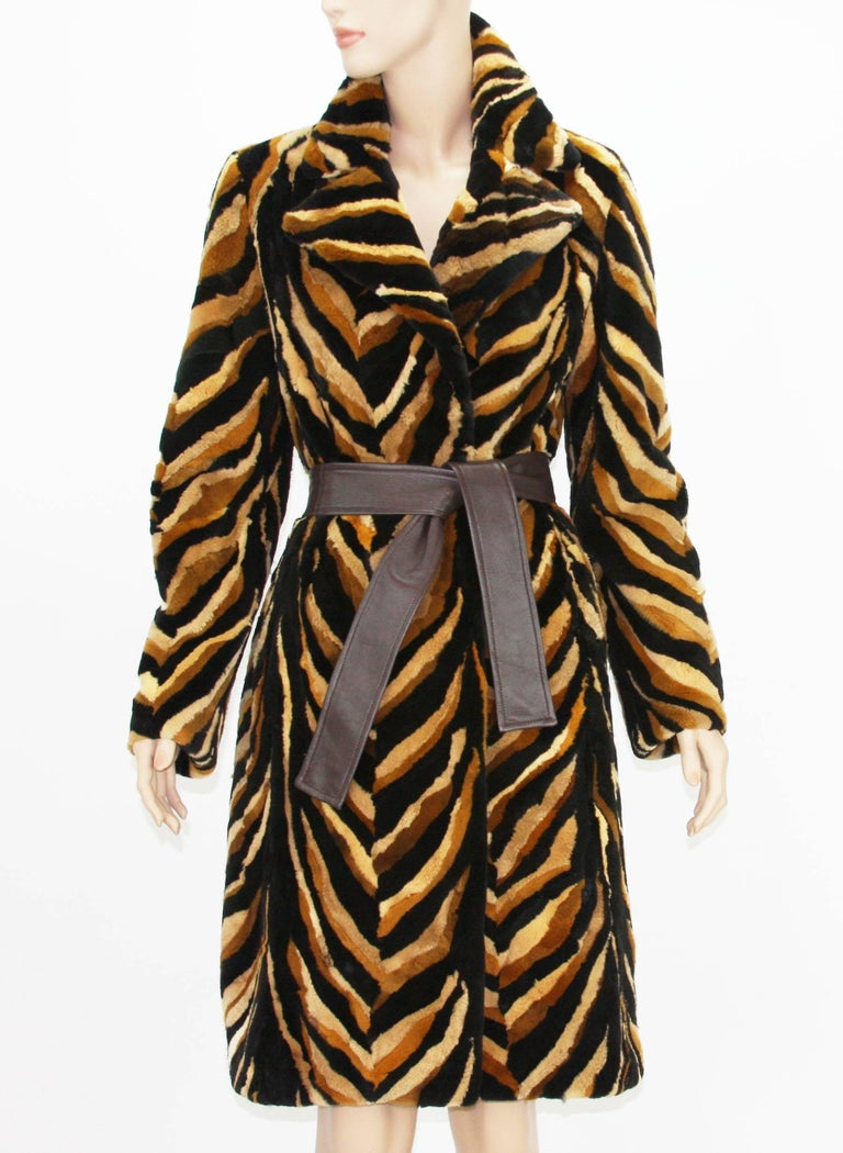 Black Vintage Gianni Versace Couture Mink Chevron Pattern Belted Coat It. 42 For Sale