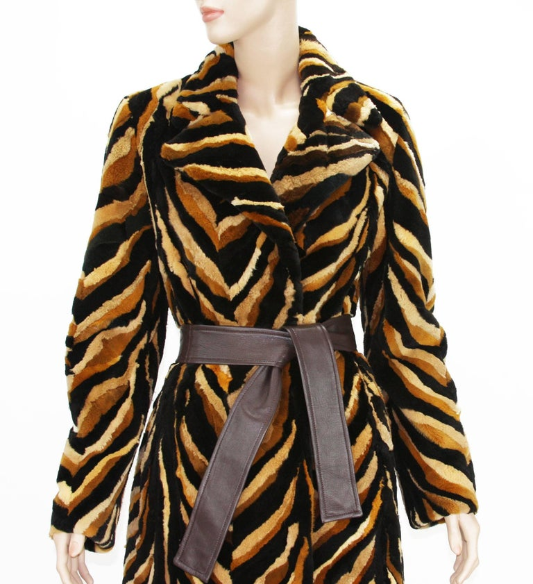 Vintage Gianni Versace Couture Mink Chevron Pattern Belted Coat It. 42 For Sale 1