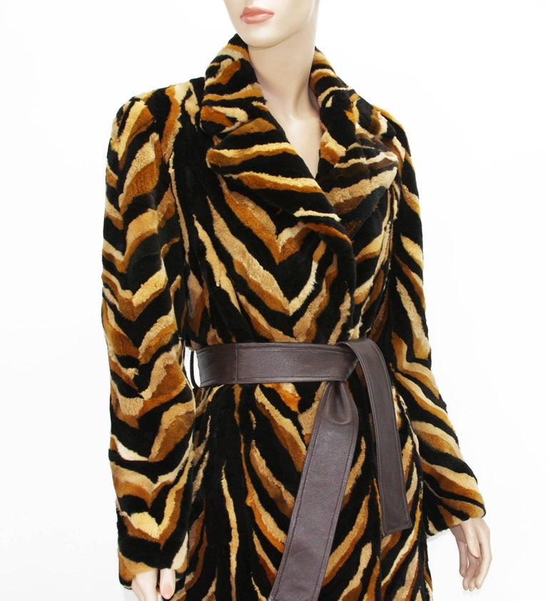 Vintage Gianni Versace Couture Mink Chevron Pattern Belted Coat It. 42 For Sale 2