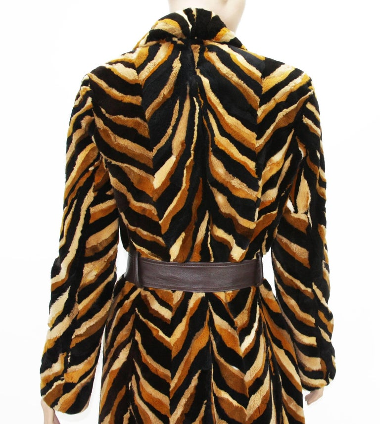 Vintage Gianni Versace Couture Mink Chevron Pattern Belted Coat It. 42 For Sale 3