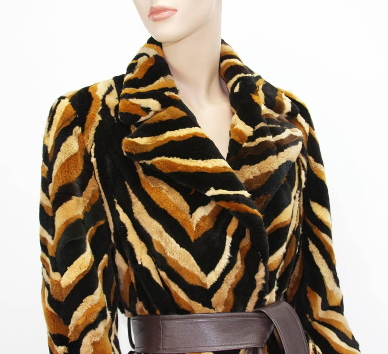 Vintage Gianni Versace Couture Mink Chevron Pattern Belted Coat It. 42 For Sale 4