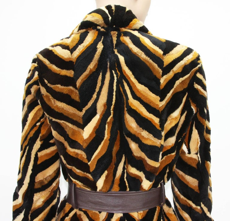 Vintage Gianni Versace Couture Mink Chevron Pattern Belted Coat It. 42 For Sale 5