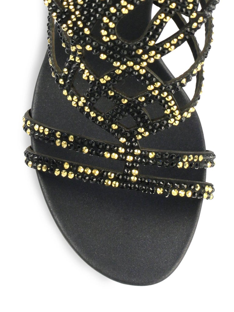 New Rene Caovilla Knee-High Swarovski Beaded Gladiator Sandals It 36 - US 6 In New Condition For Sale In Montgomery, TX