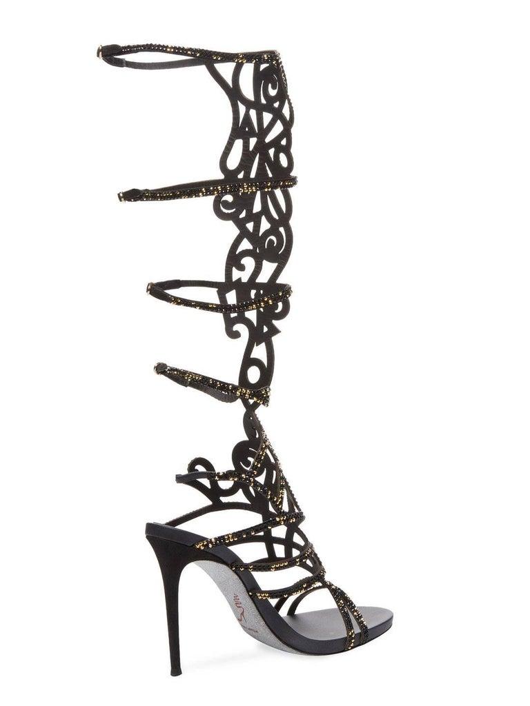 New Rene Caovilla Knee-High Swarovski Beaded Gladiator Sandals It 36 - US 6 For Sale 1