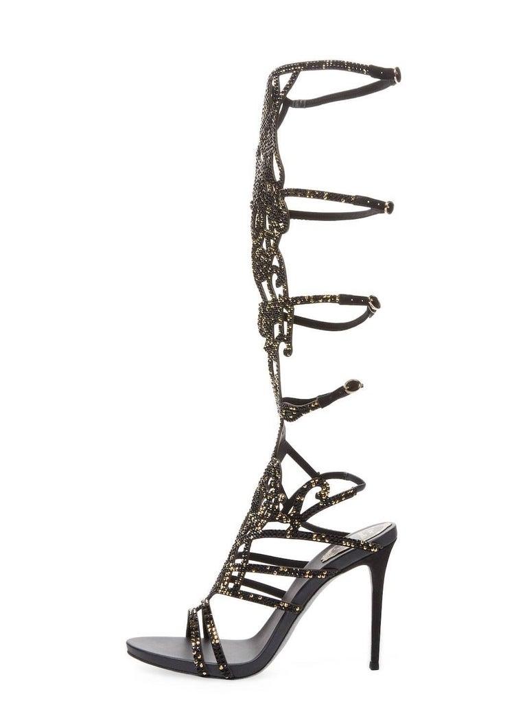 New Rene Caovilla Knee-High Swarovski Beaded Gladiator Sandals It 36 - US 6 For Sale 2
