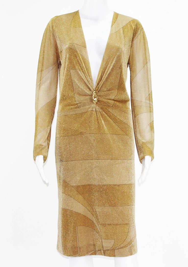 Vintage New Tom Ford for Gucci Deep Plunging Dress Fall/Winter 2000 Collection Designer size 44 - US 8 Gold/Tan Metallic Signature Gucci Cocktail Dress, Deep Plunging Neckline, Gold-tone Lion Brooch, Fully Lined in Metallic Fabric, Slip-on