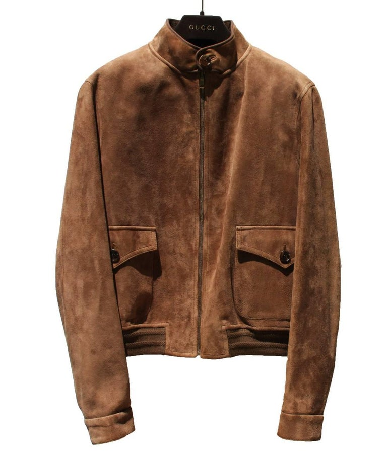 50df3bc09 New Gucci Men's Goat Suede Brown Bomber Jacket 54 - US 44 In New Condition  For