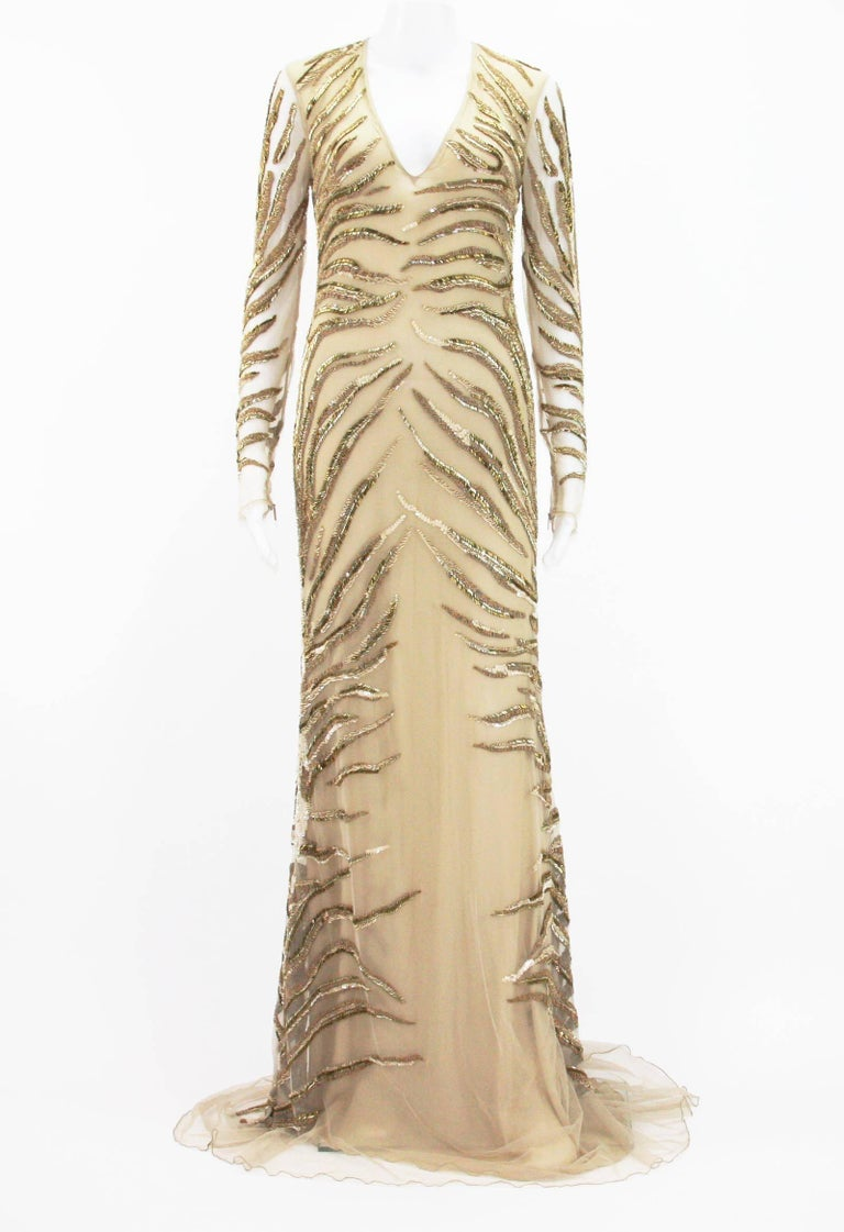 New Roberto Cavalli Nude Beaded Embroidery Mesh Dress Gown  Designer size 40, Color - Desert. Fully Beaded in Gold and Silver tone Beads and Nude tone Sequins over the Mesh, Fully Lined - 100% Silk, Back size zip closure, Stretch. Measurements: