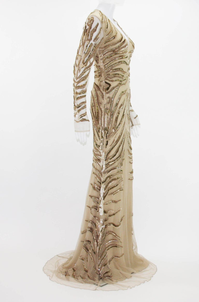 Beige New Roberto Cavalli Nude Beaded Embroidery Mesh Dress Gown size 40 For Sale