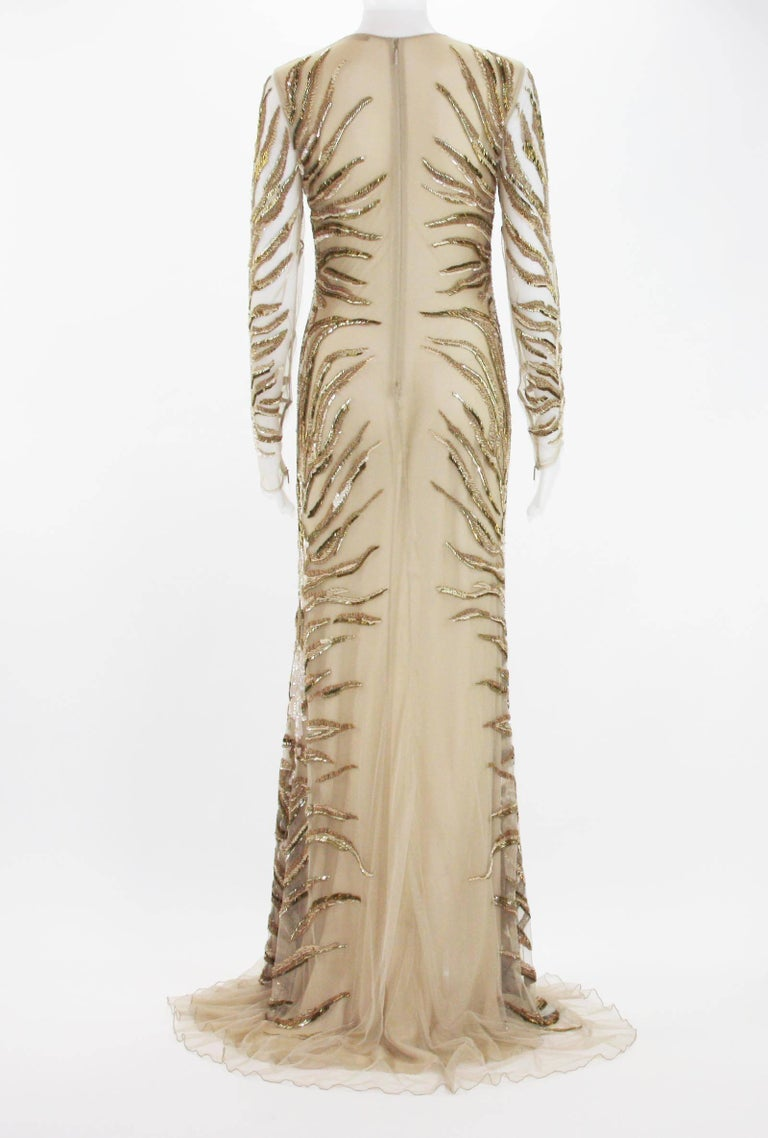New Roberto Cavalli Nude Beaded Embroidery Mesh Dress Gown size 40 In New Condition For Sale In Montgomery, TX