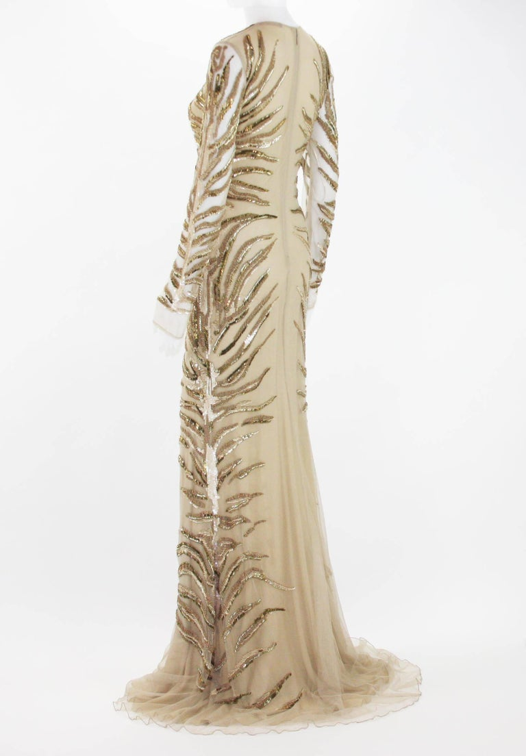 Women's New Roberto Cavalli Nude Beaded Embroidery Mesh Dress Gown size 40 For Sale