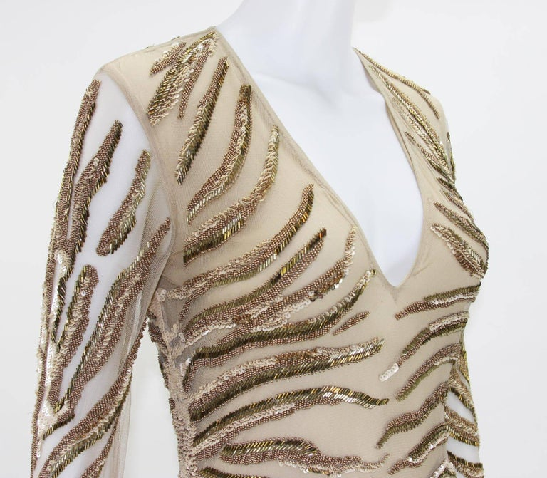 New Roberto Cavalli Nude Beaded Embroidery Mesh Dress Gown size 40 For Sale 2