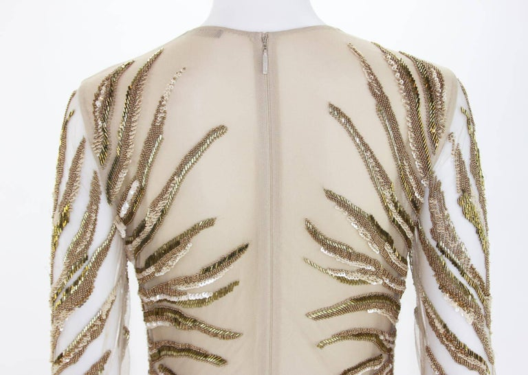New Roberto Cavalli Nude Beaded Embroidery Mesh Dress Gown size 40 For Sale 3