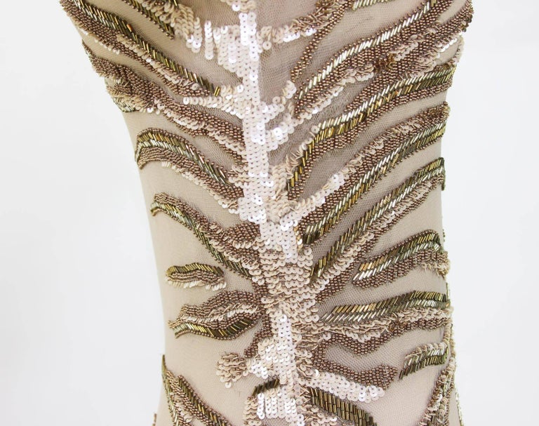 New Roberto Cavalli Nude Beaded Embroidery Mesh Dress Gown size 40 For Sale 5