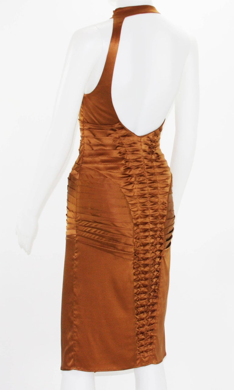 Brown Tom Ford for Gucci 2003 Collection Silk Cooper Cocktail Dress 40 - US 4 For Sale