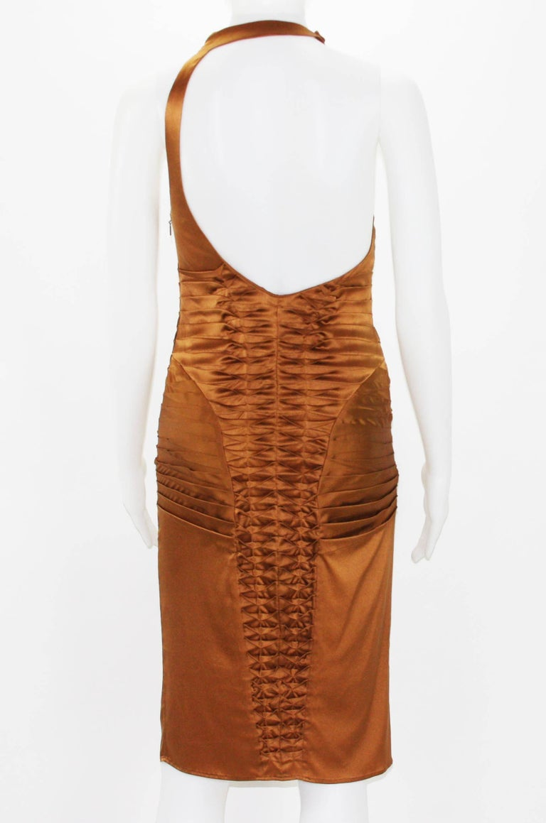 Tom Ford for Gucci 2003 Collection Silk Cooper Cocktail Dress 40 - US 4 In Excellent Condition For Sale In Montgomery, TX