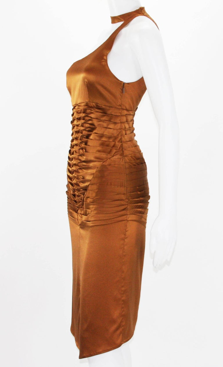 Women's Tom Ford for Gucci 2003 Collection Silk Cooper Cocktail Dress 40 - US 4 For Sale