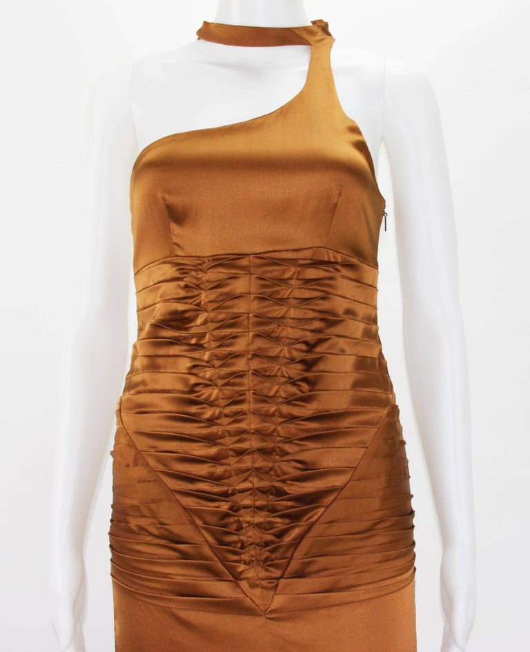 Tom Ford for Gucci 2003 Collection Silk Cooper Cocktail Dress 40 - US 4 For Sale 2