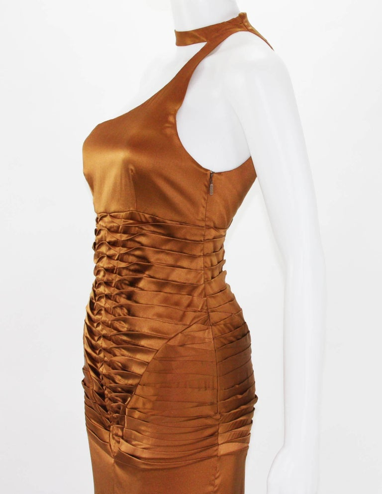 Tom Ford for Gucci 2003 Collection Silk Cooper Cocktail Dress 40 - US 4 For Sale 3
