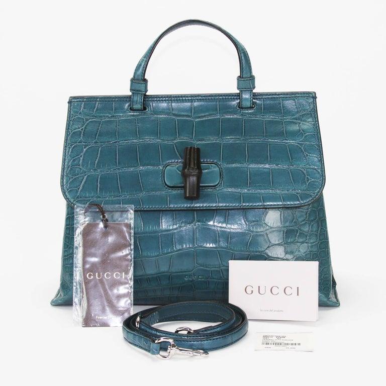 New 24 000 Gucci Crocodile Dusty Turquoise Top Handle Shoulder Strap Medium Bag