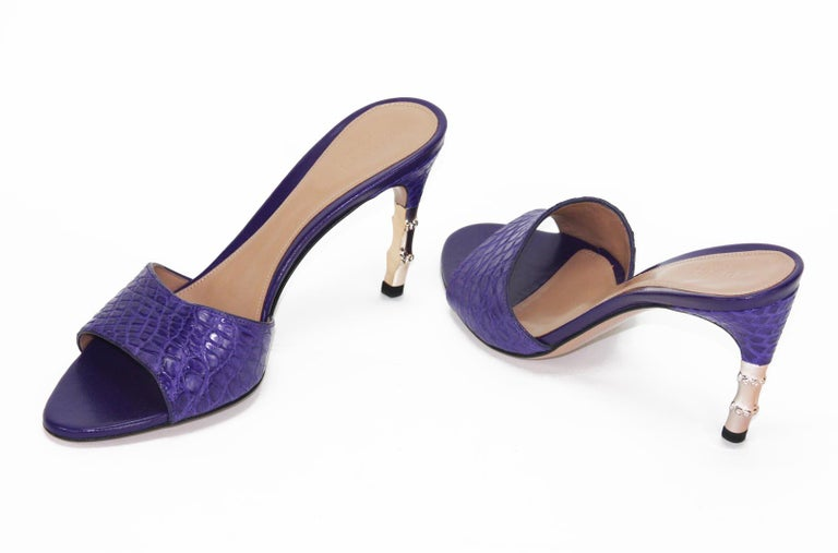 2cd6a2e15 Tom Ford for Gucci Genuine Crocodile Purple Bamboo Heeled Shoes 6 B In New  Condition For