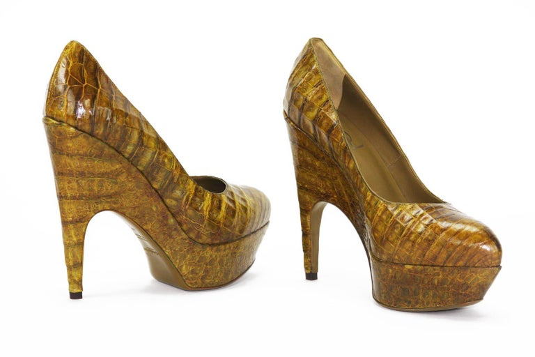 e70961314445 New Yves Saint Laurent Genuine Alligator Platform Shoes Designer size 39 -  US 9 Mix of