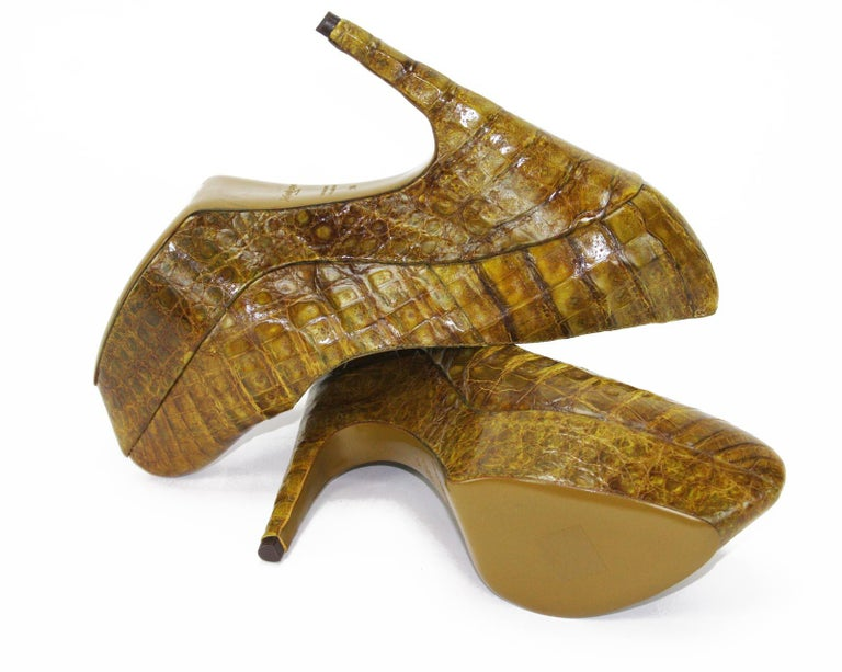9cad557f77be New Yves Saint Laurent Alligator Platform Shoes Pumps 39 - 9 For Sale 1