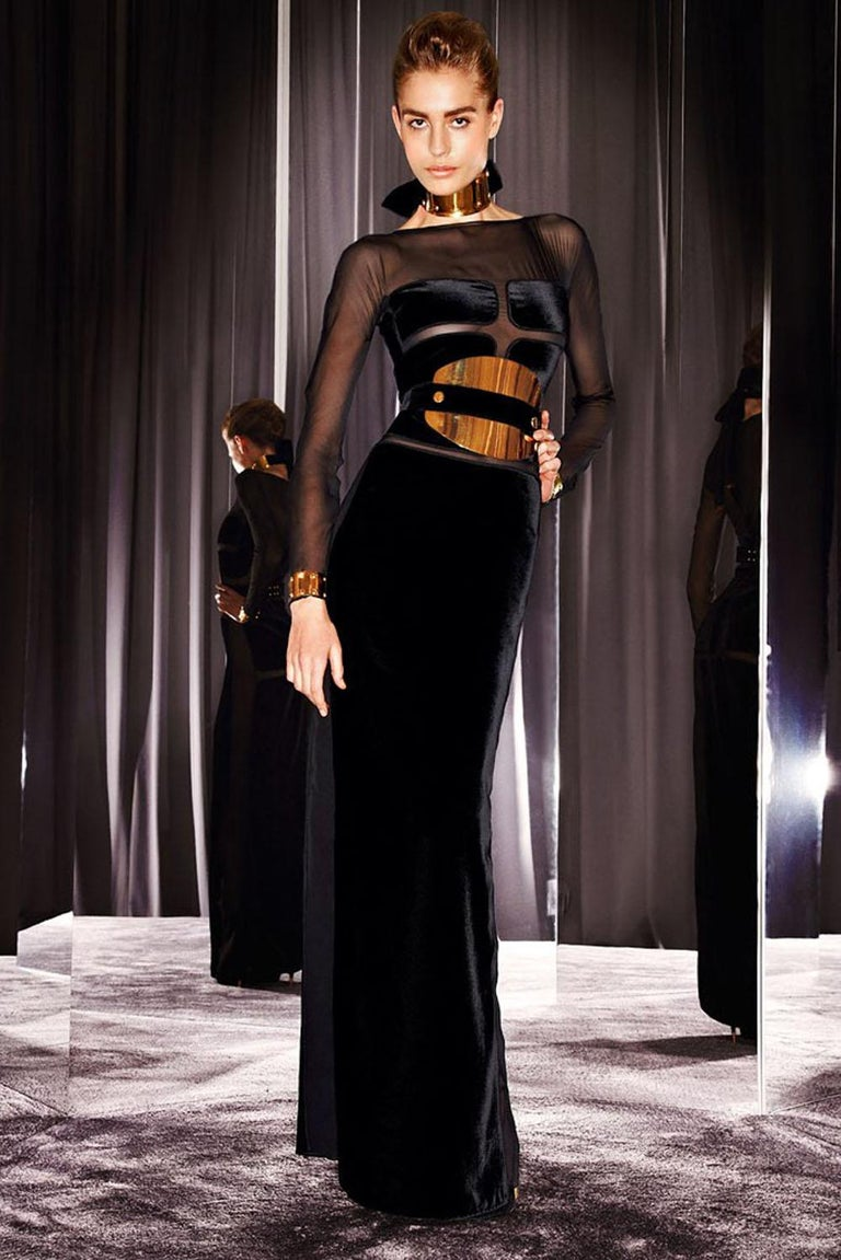 Tom Ford Ad Campaign Black Velvet Sheer Cutout Dress Gown For Sale ...