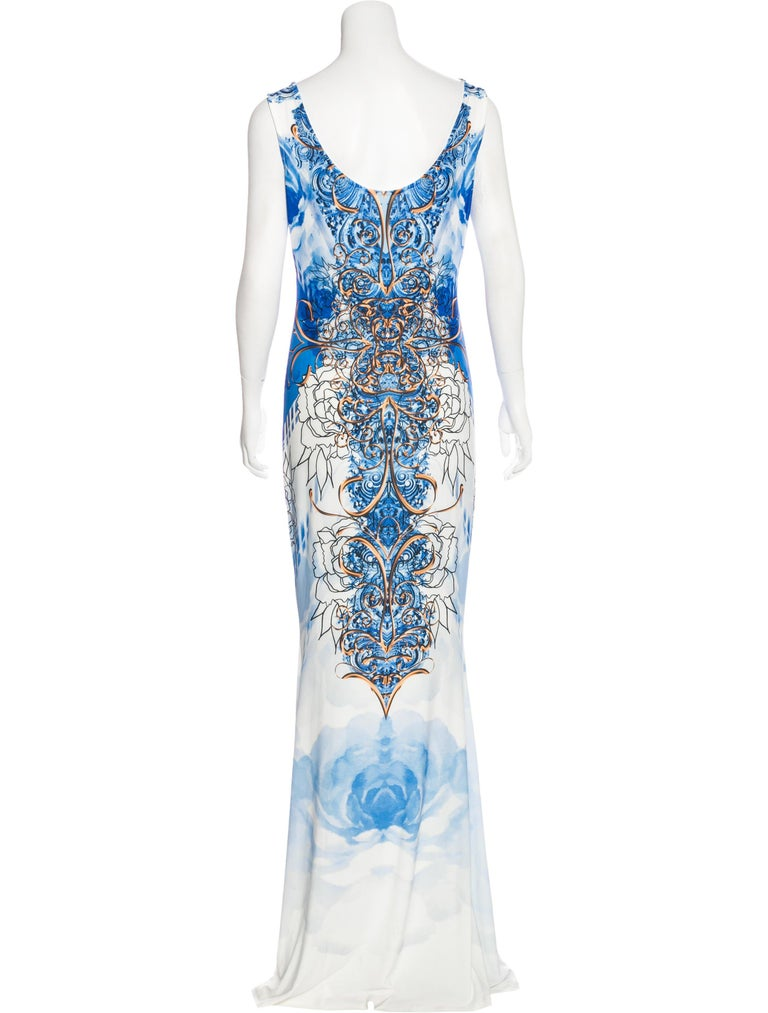 New Roberto Cavalli Jersey Stretch Long Dress Designer size 40 - US 4 (will fit bigger sizes also). Blue, White and Yellow Colors, Micro-Beaded Yellow Crystals at Front, Slip-on Style, Very Stretch and Sexy, Mermaid Cut Style. Measurements: Length -