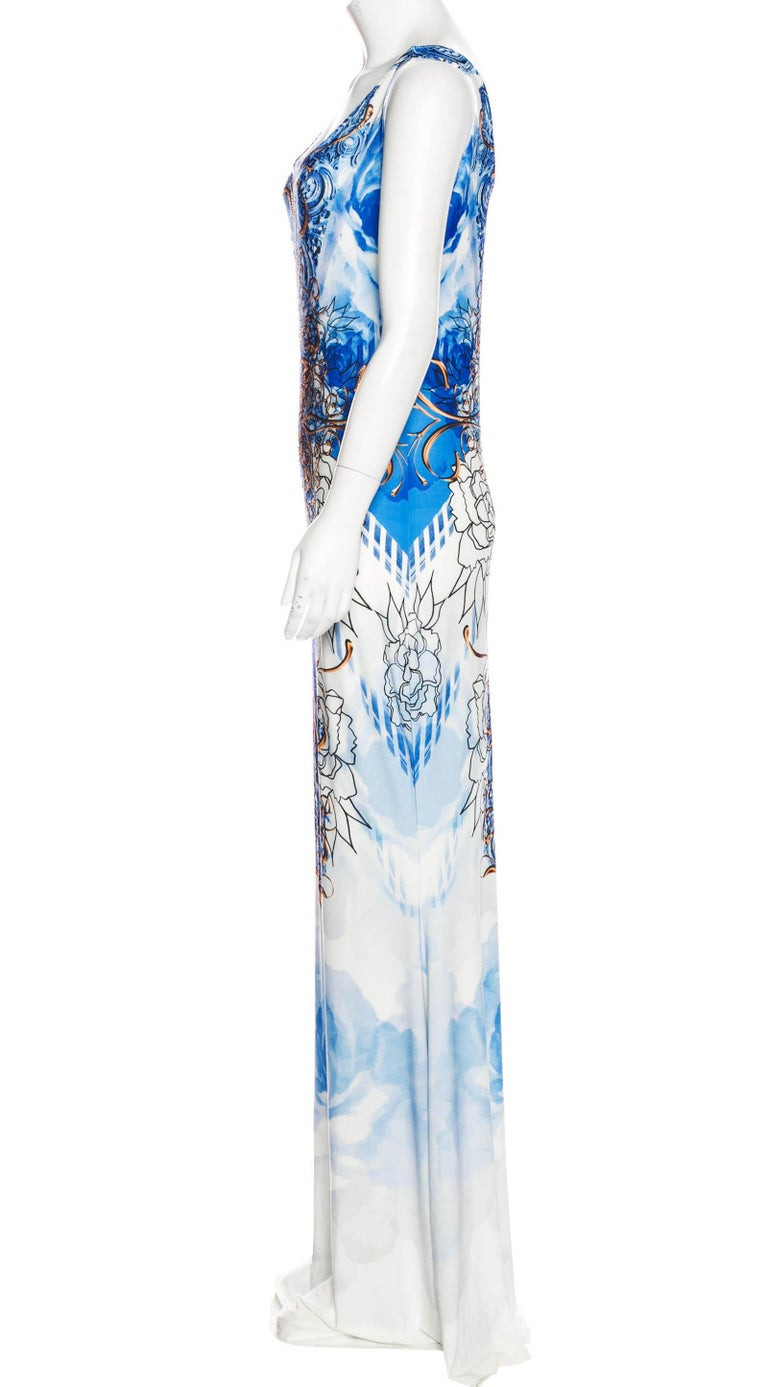Gray New Roberto Cavalli Jersey Stretch Blue White Micro-Beaded Long Dress 40 - 4/6 For Sale