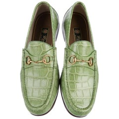 New GUCCI Men's 1953 Horsebit CROCODILE Countryside Loafers European 39.5   40.5
